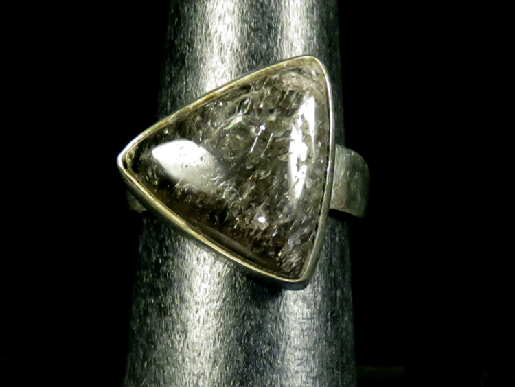 Graphite Quartz Triangle Ring