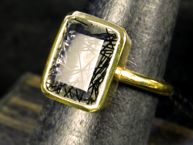 Art Deco Tourmalinated Quartz Ring
