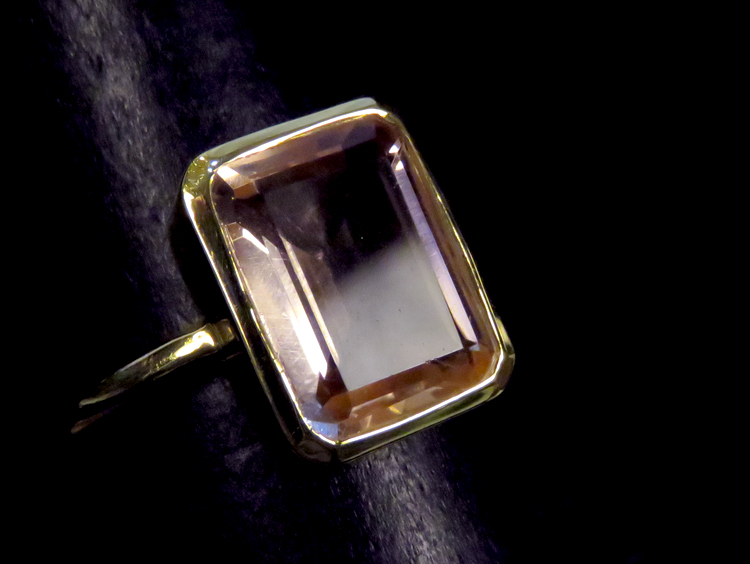 Art Deco Pink Topaz Ring