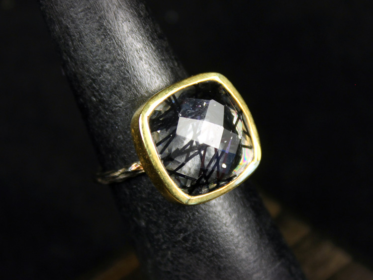 2-Tone Tourmalinated Quartz Ring