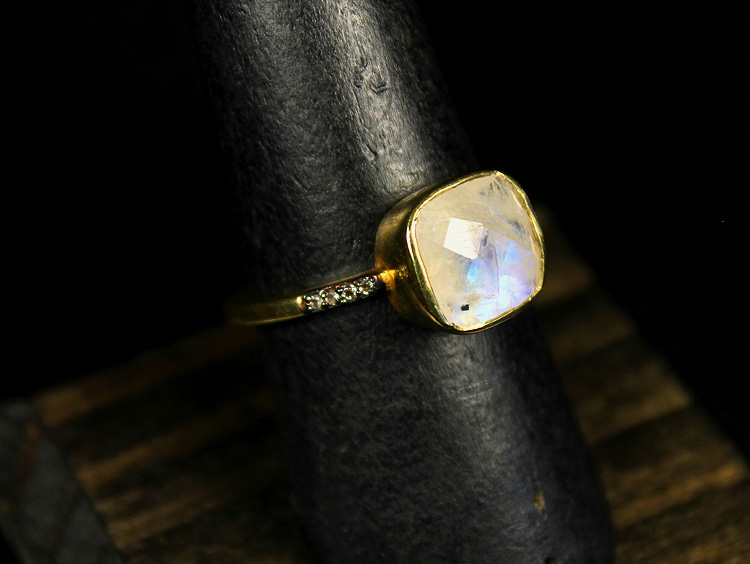Moonstone and Zirconia Ring