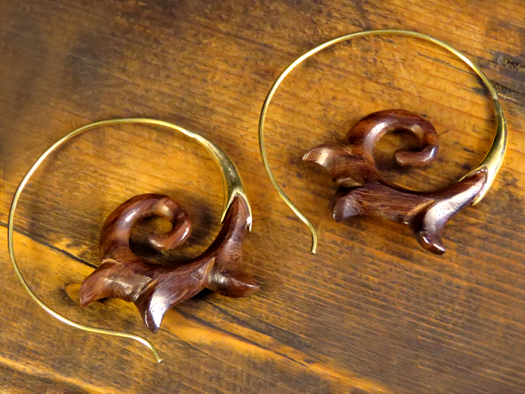 Carved Dark Wood Hoop Earrings