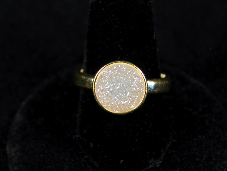 Round White Druzy Ring Gold Size 9