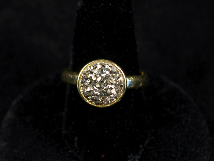 Little Pyrite Druzy Ring