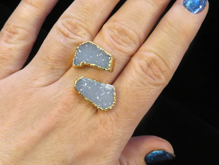 Grey Double Druzy Ring
