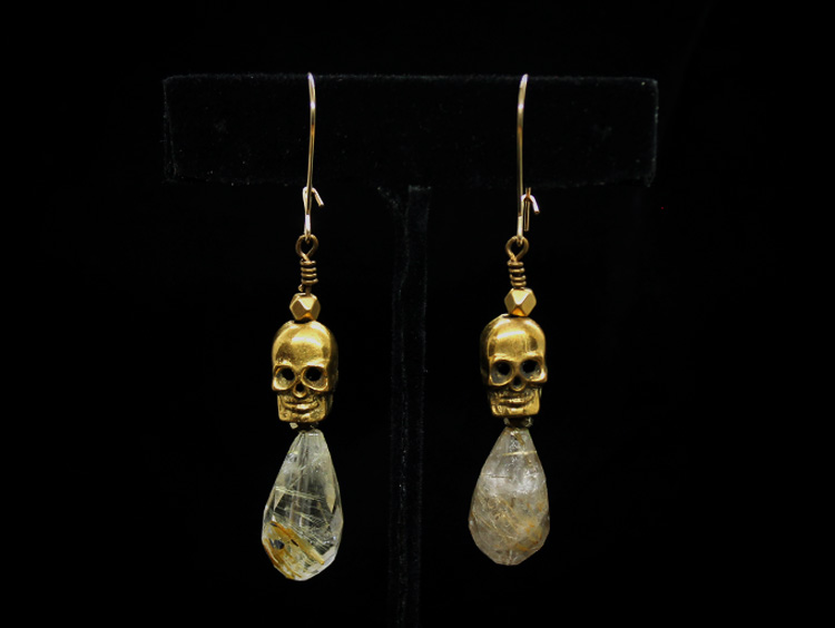 Rutile Quartz Skull Earrings