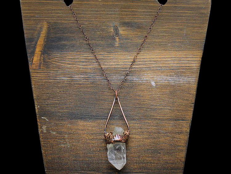 Quartz Crystal Point Copper Necklace