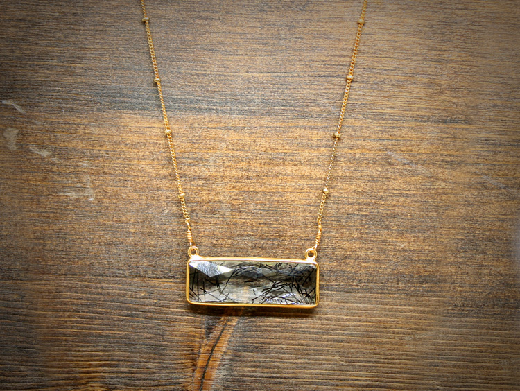Tourmalinated Quartz Gold Necklace