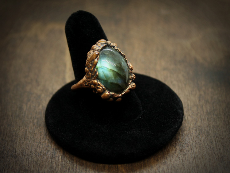 Labradorite Copper Ring