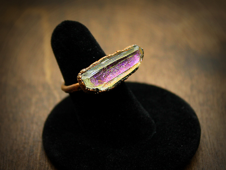 Aura Quartz Copper Ring