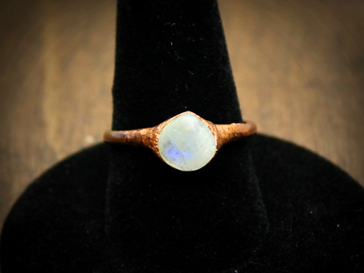 Moonstone Copper Ring