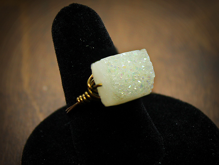 Aura Druzy Bronze Wire Wrap Ring