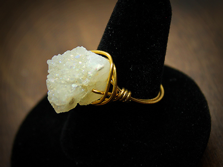 Aura Druzy Brass Wire Wrap Ring