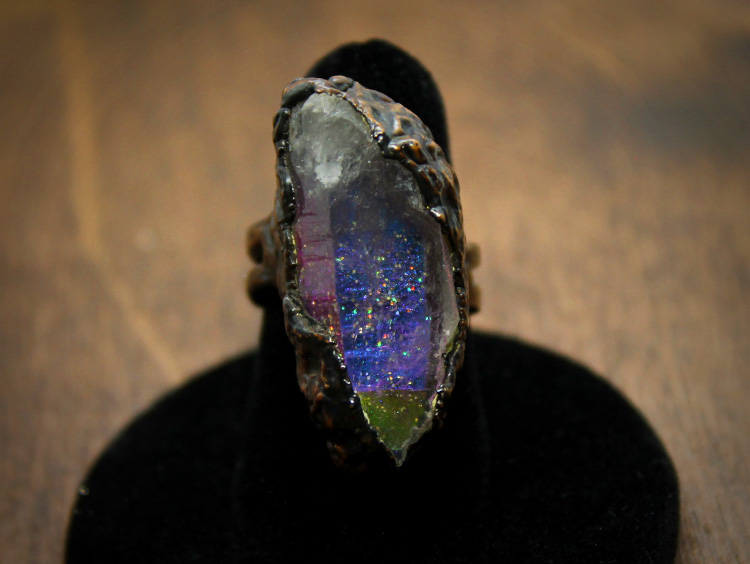 Quartz Crystal Cosmos Copper Ring
