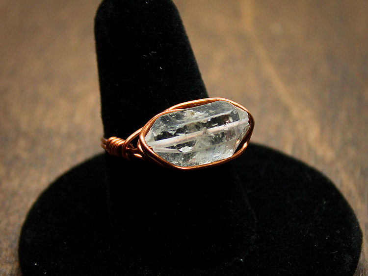 Herkimer Diamond Copper Wire Wrap Ring