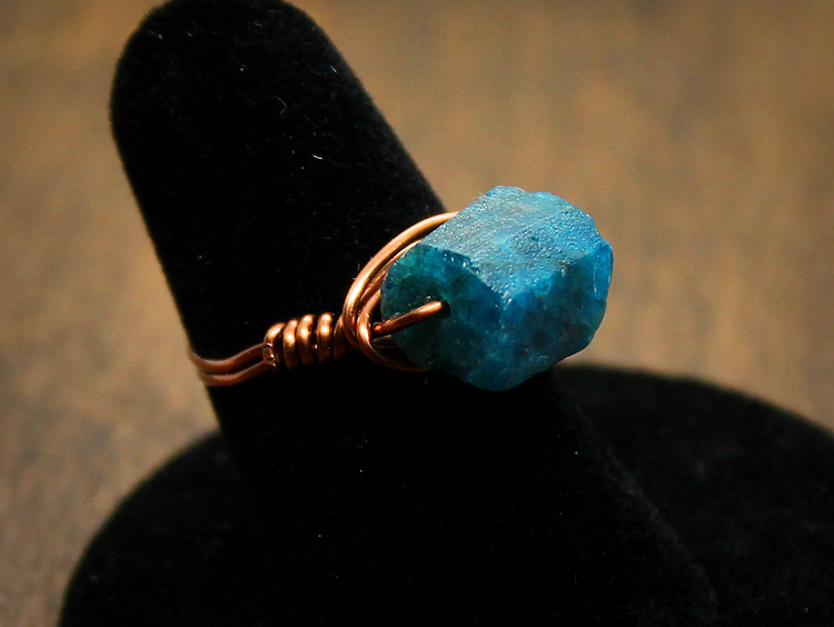 Apatite Copper Wire Wrap Ring
