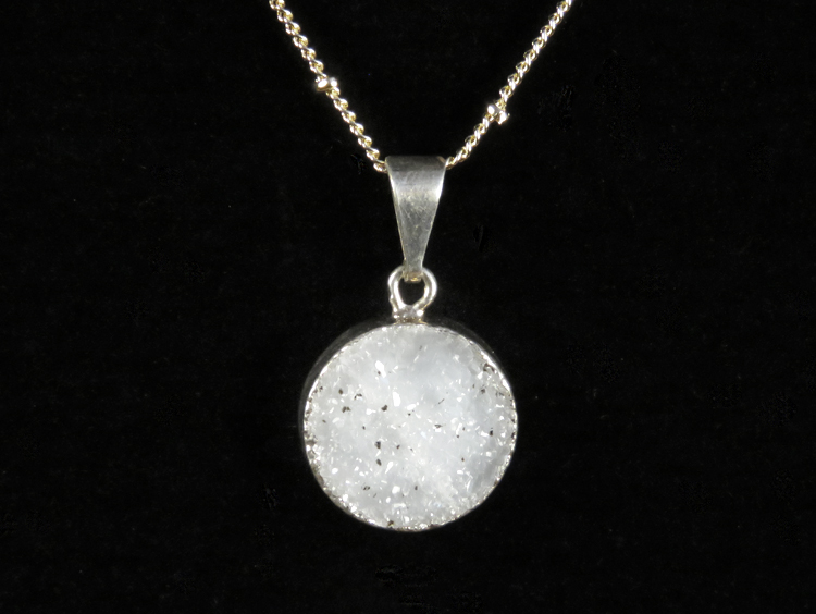 Round Druzy Dainty Necklace