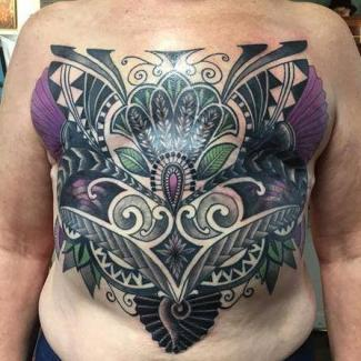 Stunning armor tattoo covering up double mastectomy scars by Ruby Santiago!