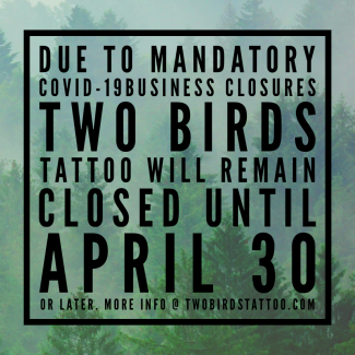 We will be closed until April 30, 2020